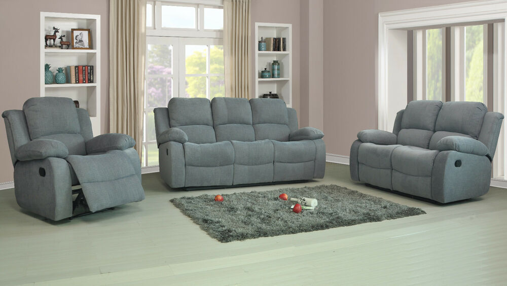 recliner fabric roxy sofa suite 3 2 1 couch settee charcoal or light grey sale ebay. Black Bedroom Furniture Sets. Home Design Ideas