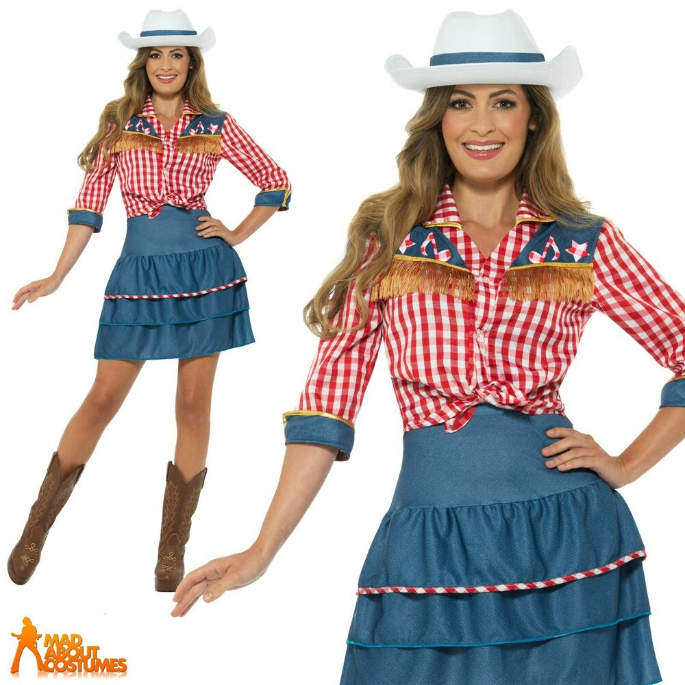 Ladies Rodeo Doll Cowgirl Costume Dolly Parton Fancy Dress ...