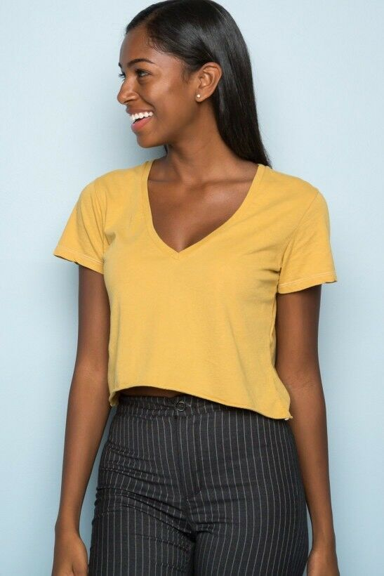 584367b8ae01d7 New! Brandy Melville deep yellow cotton crop v neck Ashley top NWT ...