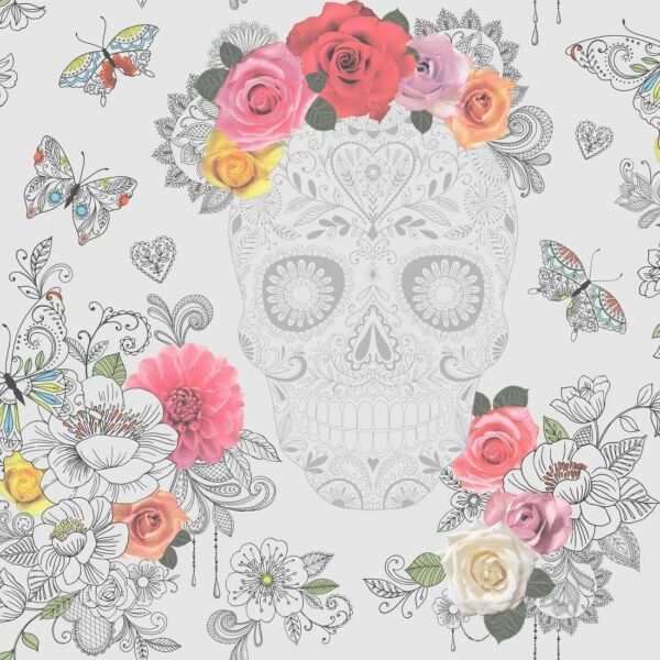 Wallpaper Rasch - Calavera Sugar Skull Multi - Hearts / Butterfly - Grey 278033