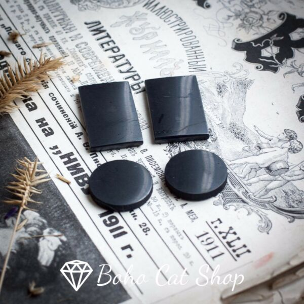 Set of 4 shungite phone plates for EMF protection. WHOLESALE from Karelia