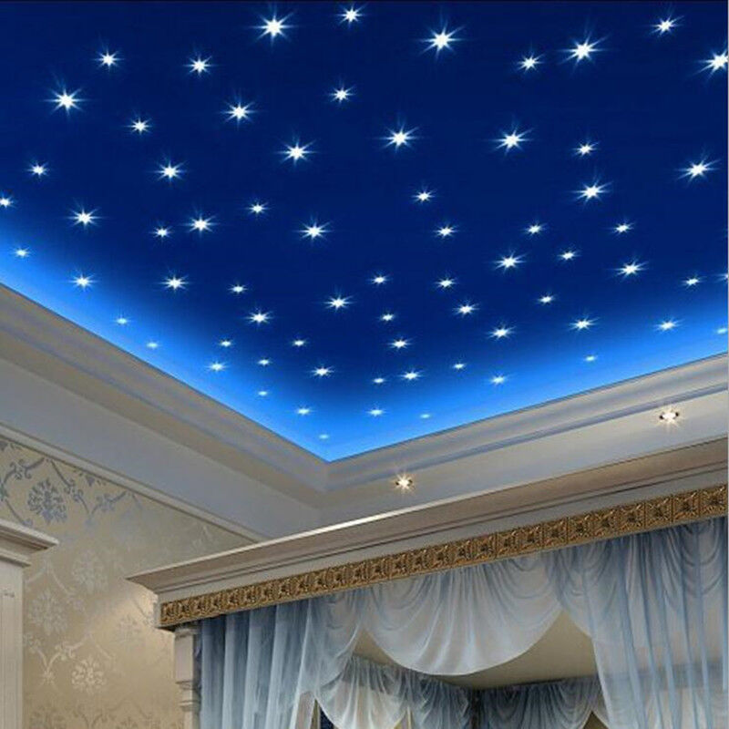 100pcs 3d Home Stickers Ceiling Wall Stars Glow In The Dark Luminous Decal Kids