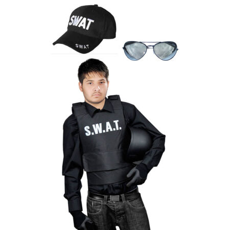 img-Halloween Men Women SWAT Adults Vest, Cap Sunglasses Fancy Police Dress Party
