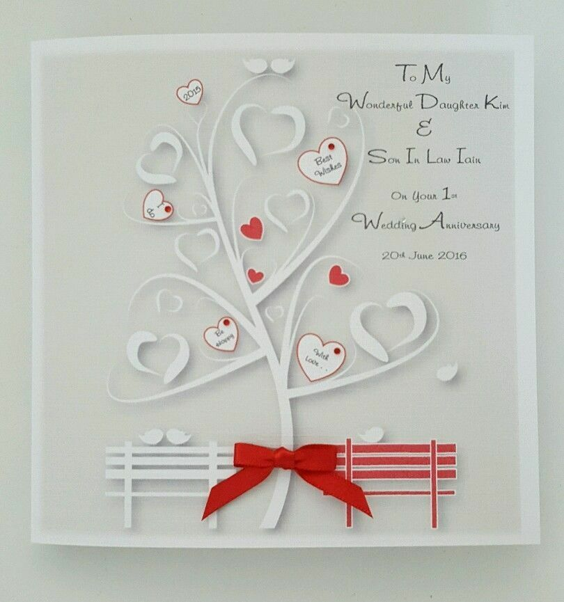 First Wedding Anniversary Gifts For Son And Daughter In Law: Personalised 1st Wedding Anniversary Card Daughter & Son