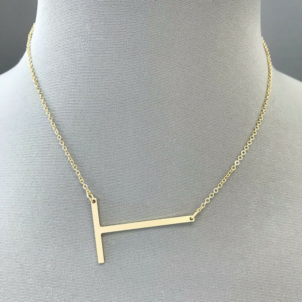 8969b553d04278 Details about Simple Gold Finished Accent Alphabet Initial T Pendant Dainty  Necklace