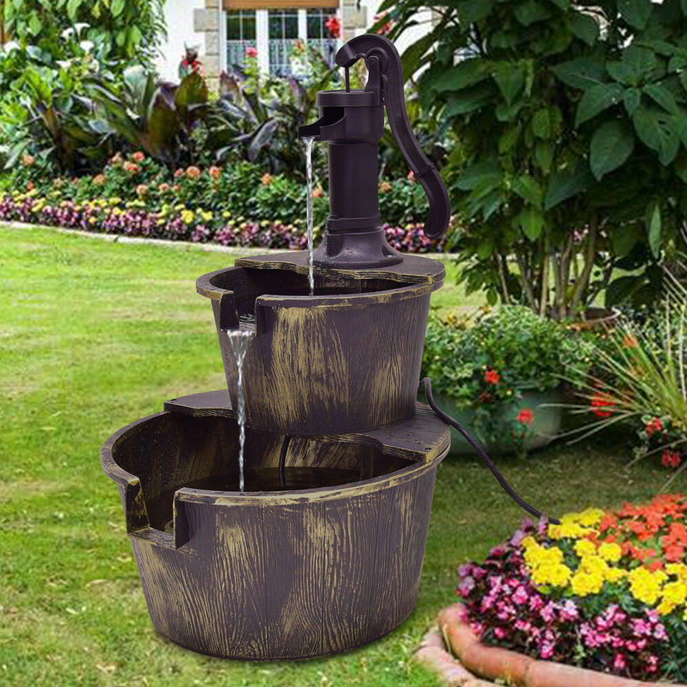 Garden Fountain: 2 Tier Barrel Waterfall Fountain Barrel Water Fountain