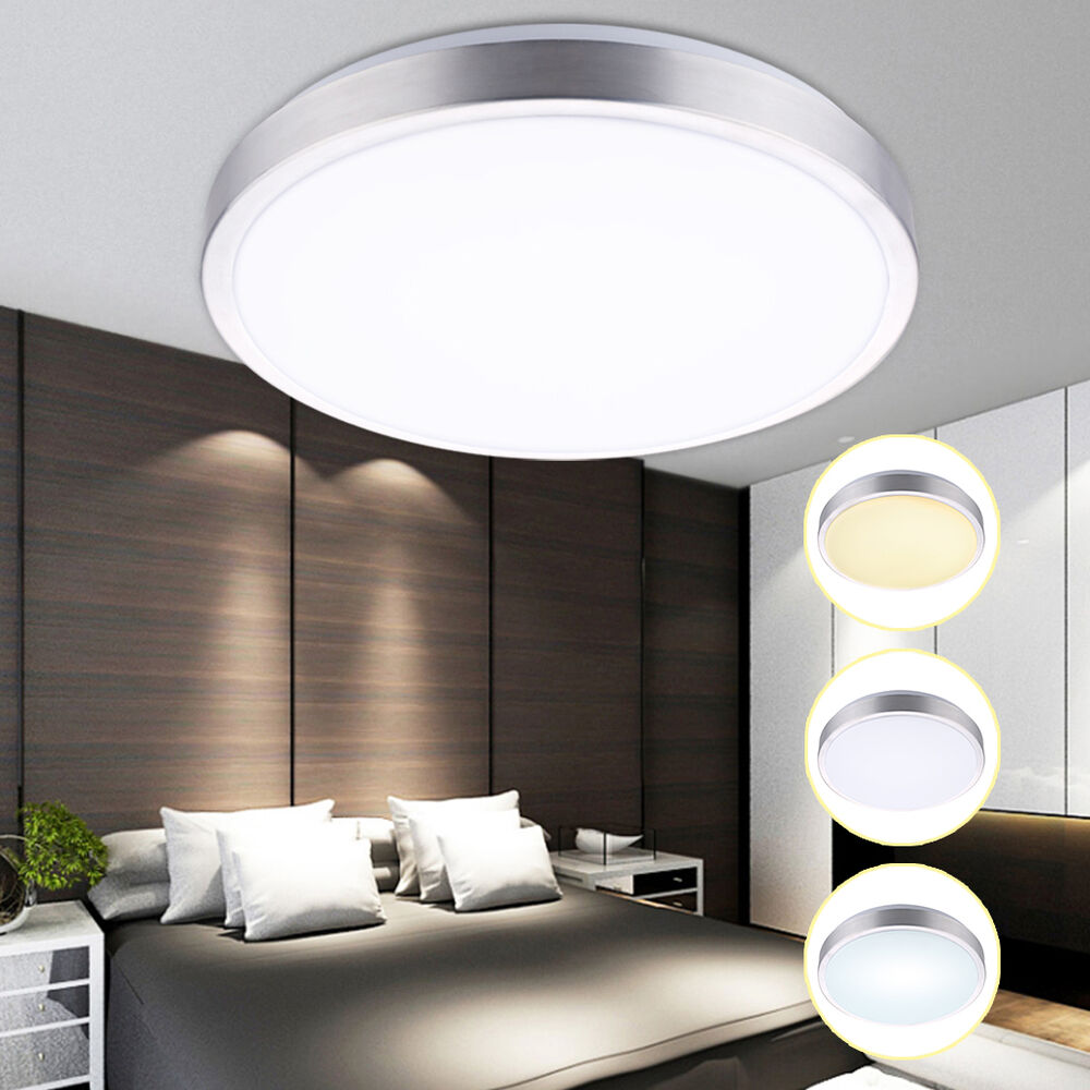 18w led deckenleuchte badleuchte deckenlampe dimmbar wohnzimmer k che bad runden ebay. Black Bedroom Furniture Sets. Home Design Ideas