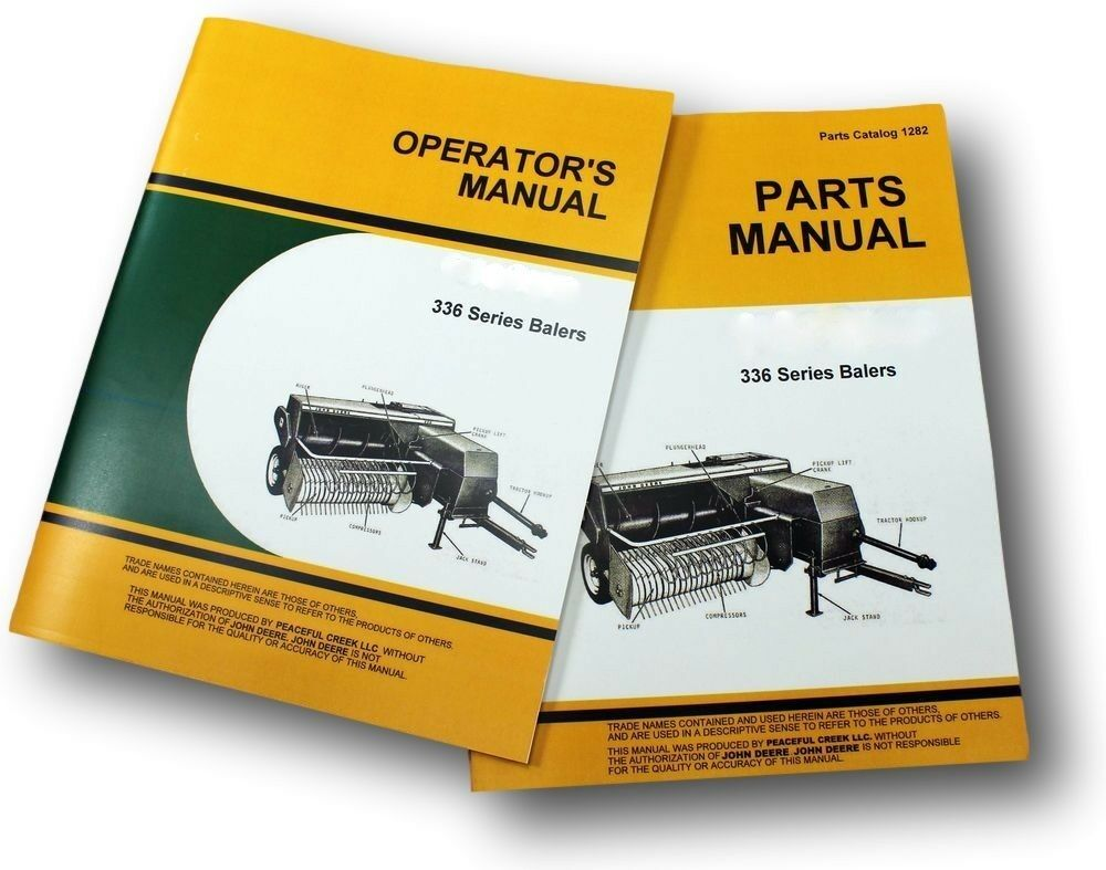OPERATORS PARTS MANUAL SET FOR JOHN DEERE 336 SQUARE BALER CATALOG TWINE &  WIRE | eBay