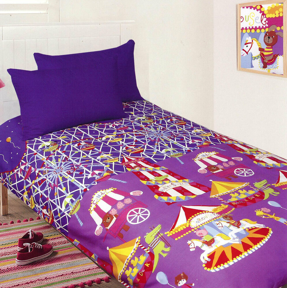 Fun At The Fair Quilt Doona Duvet Cover Set Girls Bedding
