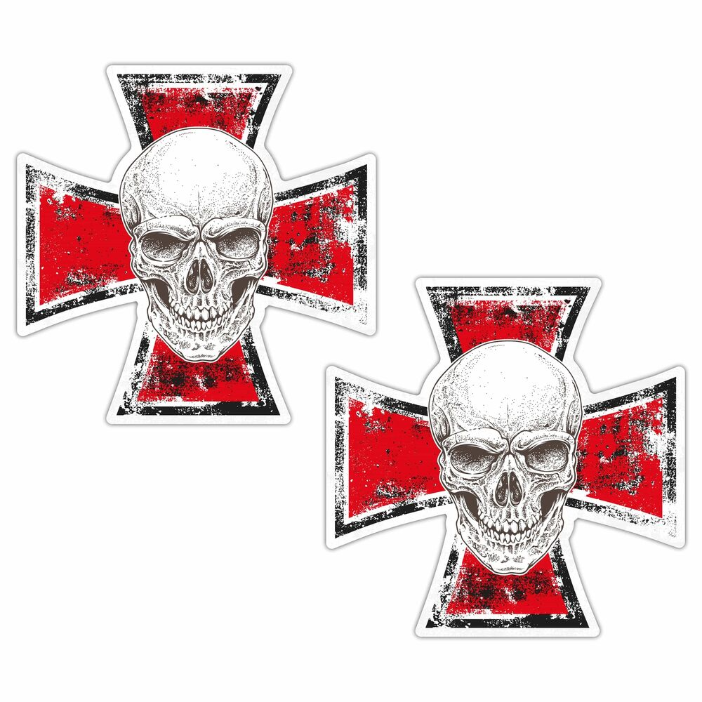 Details about skull iron cross stickers custom car motorbike hot rod beetle bobber chopper
