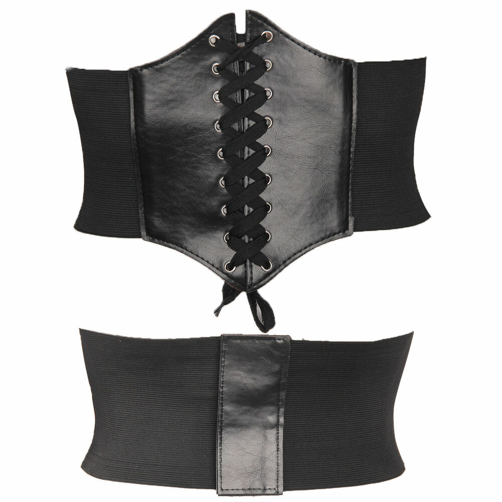 eba7987e26 Details about LADIES WAIST CINCHER WIDE BAND ELASTIC TIED WASPIE CORSET  LEATHER BELT UK