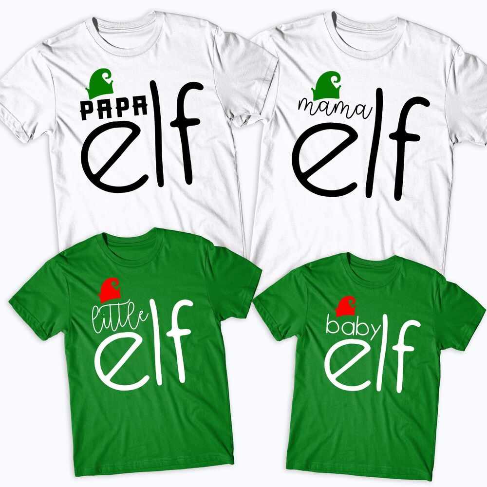 f878e0d469 Details about Elf Family T-Shirt Funny Cute Christmas Matching Shirts Gift  Kids Mens Santa