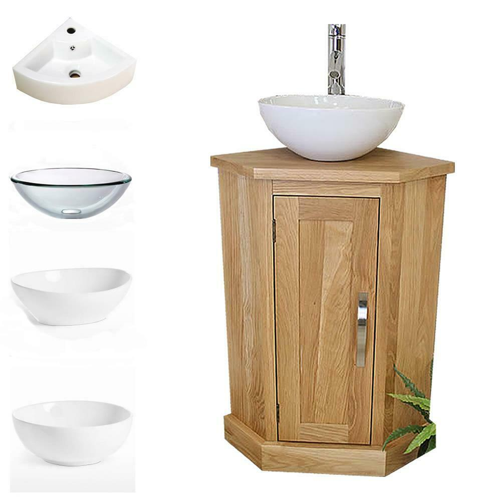Solid Oak Bathroom Cabinet Cloakroom Corner Vanity Sink