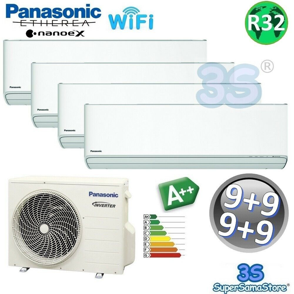 3s multi split klimager t etherea panasonic klimaanlage 4x 2 5 kw a r32 ebay. Black Bedroom Furniture Sets. Home Design Ideas