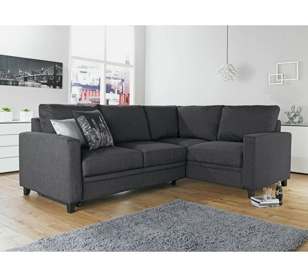 Corner Sofa Left And Right: Hygena Seattle Fabric Right-Hand Corner Sofa Bed-Charcoal