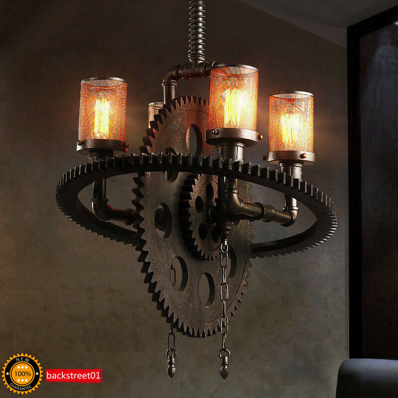 Steampunk Gear Pipe Chandelier Edison Light Heavy Metal