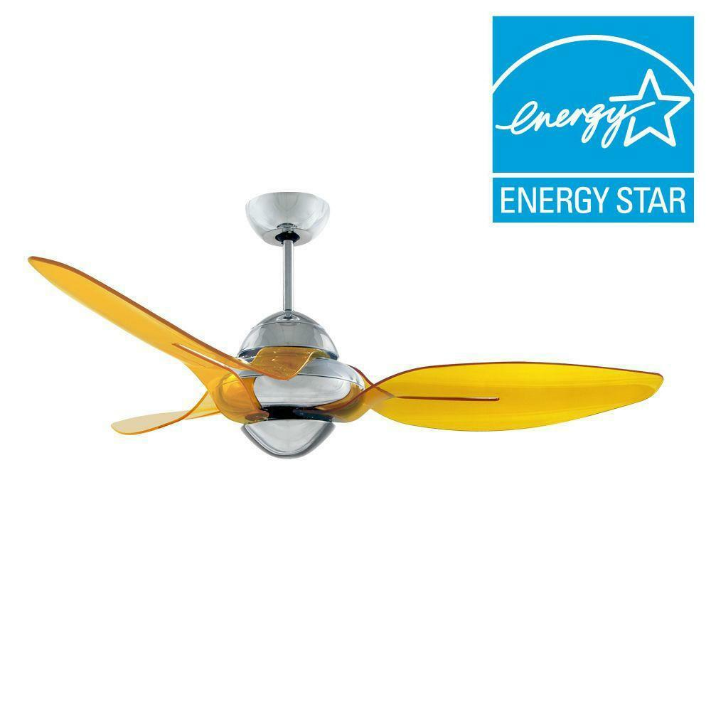 Vento Clover 54 In Chrome Ceiling Fan With 3 Translucent Yellow Blades N 00028 4717964010148