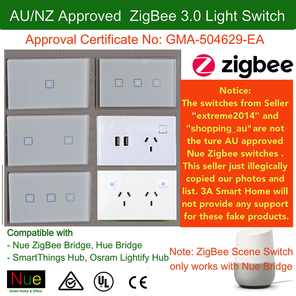 au smart zigbee light switch dimmer for google home mini echo control lights ebay. Black Bedroom Furniture Sets. Home Design Ideas