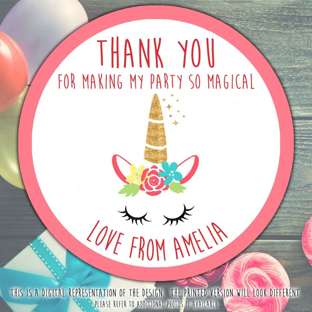 Personalised unicorn horn birthday party round stickers labels party cone sheet ebay
