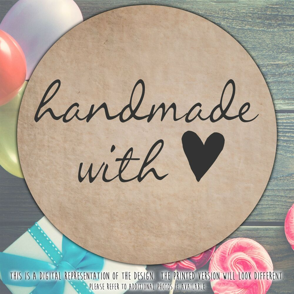 Details about personalised hand made with love round stickers labels party cone sheet craft