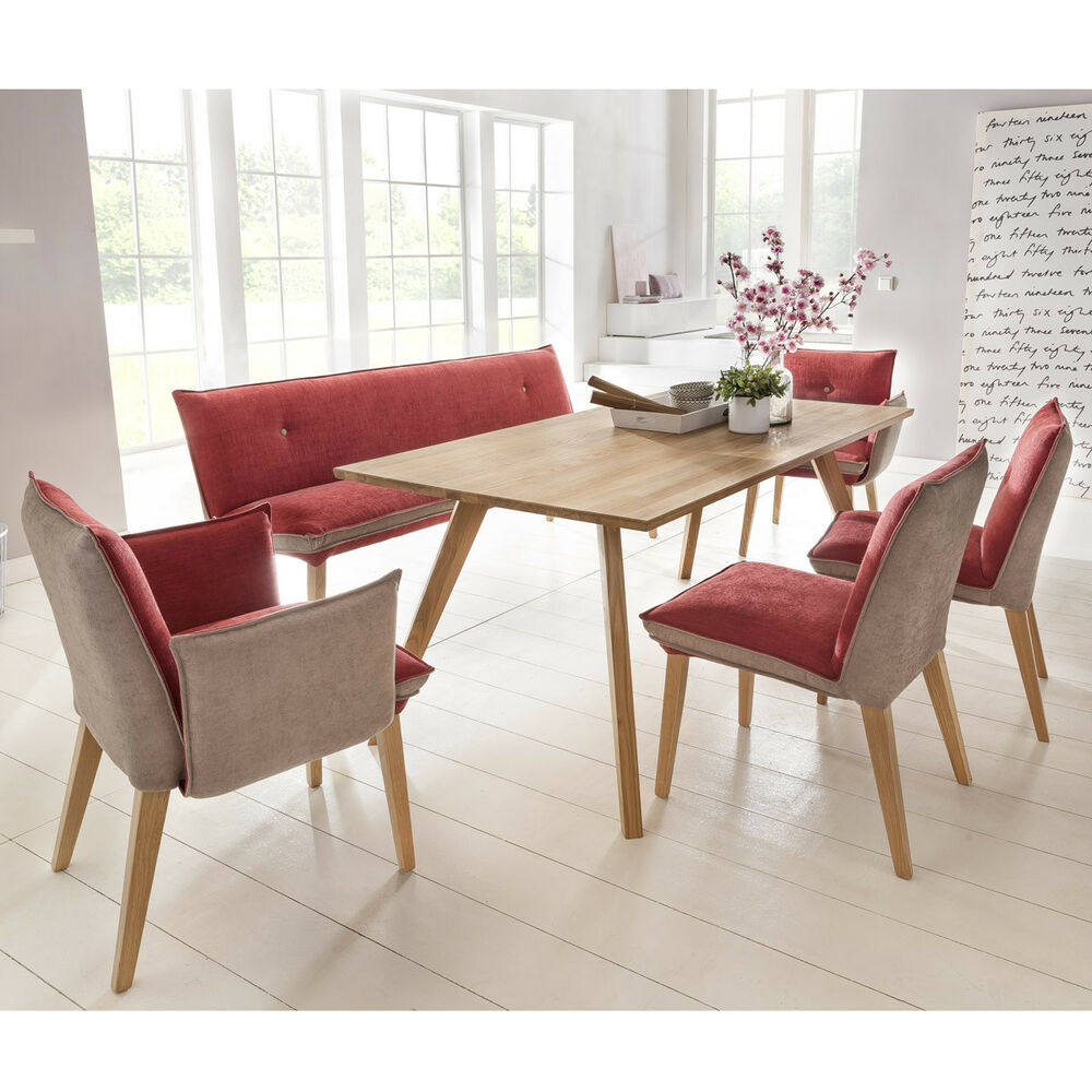 essgruppe trondheim in eiche massiv mit sitzm bel genua rot beige ebay. Black Bedroom Furniture Sets. Home Design Ideas