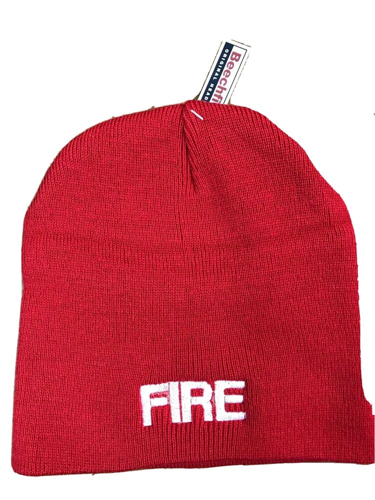 FIRE Beanie hat RED With White Embroidery Retained Firefighter  a04bf258847