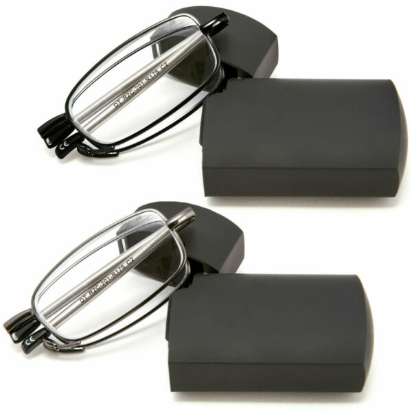 DOUBLETAKE Metal Compact Folding Reading Glasses with Carrying Case, 2 pair