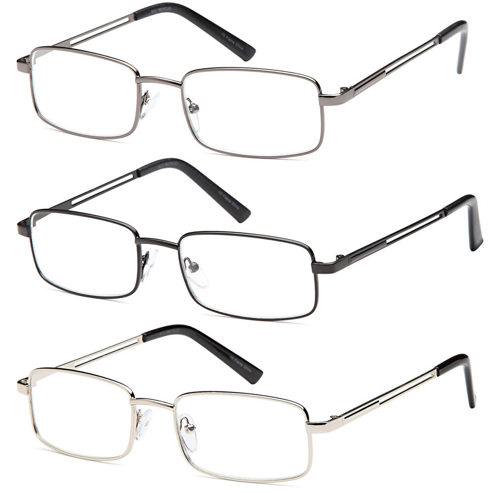 77d9767070 Details about GAMMA RAY 3 Pairs of Stainless Steel Reading Glasses Readers  w  Magnification