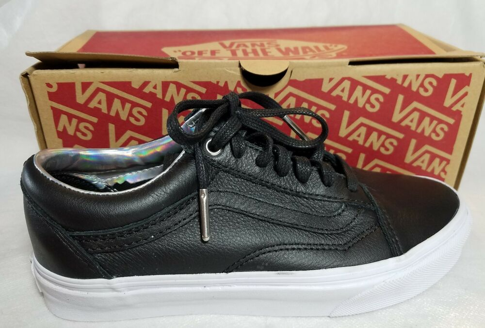 f338f6b72bff35 Details about New Vans Old Skool Leather Hologram Black White Skate Low  Shoe Women Size 5.5