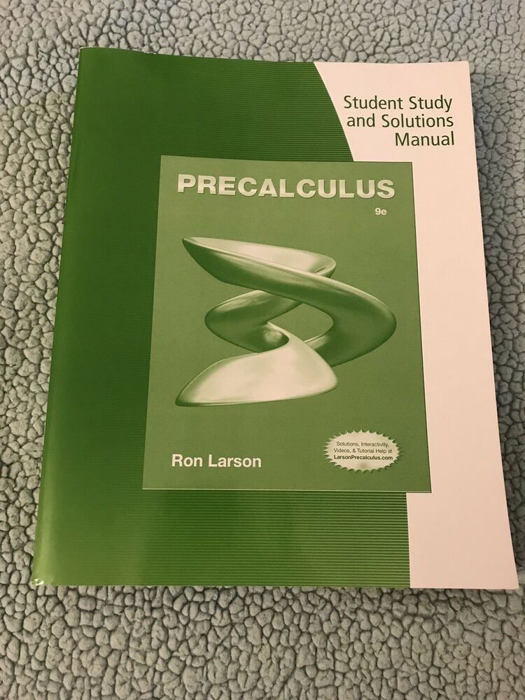 Precalculus 9th edition student study and solutions manual Ron Larson  Paperback | eBay