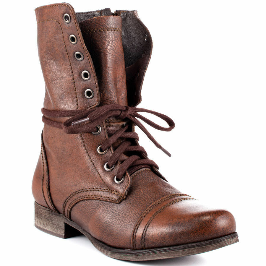 Steve Madden Troopa Womens Brown Leather High Lace Up