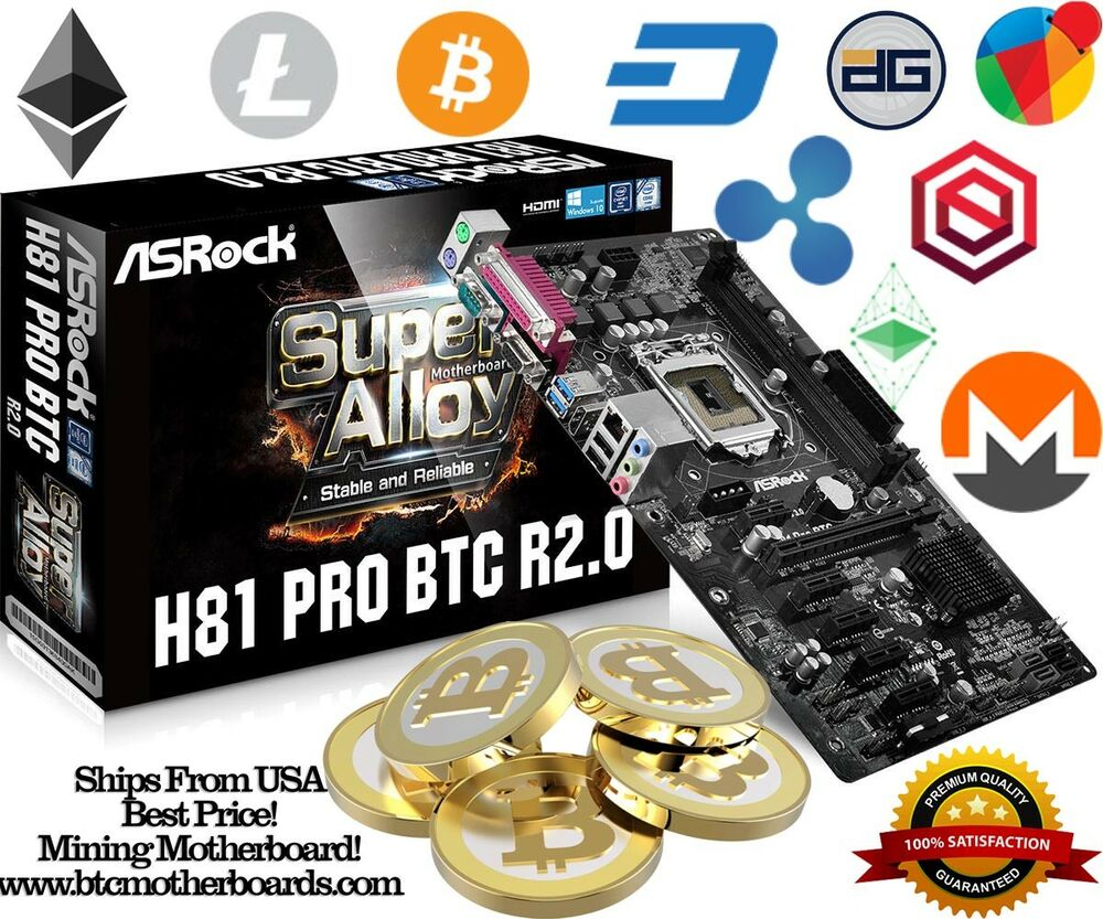 brand new asrock h81 pro btc r2 0 lga 1150 6 pcie mining motherboard bitcoin ebay. Black Bedroom Furniture Sets. Home Design Ideas