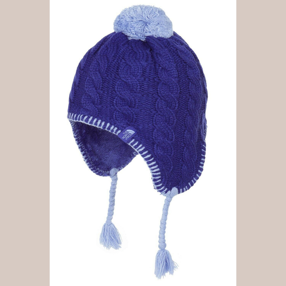 new arrival 3a02a ebf06 Details about NWT The North Face Fuzzy Earflap Beanie (Girls) in Lapis Blue   SZ Medium   C327