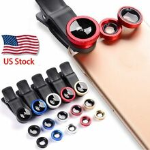 Smart Phone Camera Lens Universal 3 in 1 Clip On Kit Wide Angle Fish Eye Macro