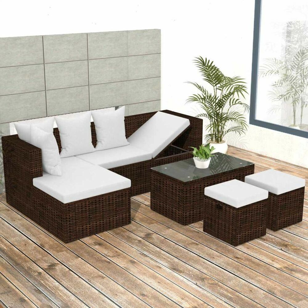 Details About Vidaxl Garden Sofa Set Poly Rattan Brown Wicker Corner Couch Furniture Seat