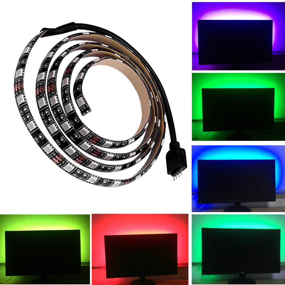 1m 2m usb led rgb strip leiste mit fernbedienung to pc tab. Black Bedroom Furniture Sets. Home Design Ideas