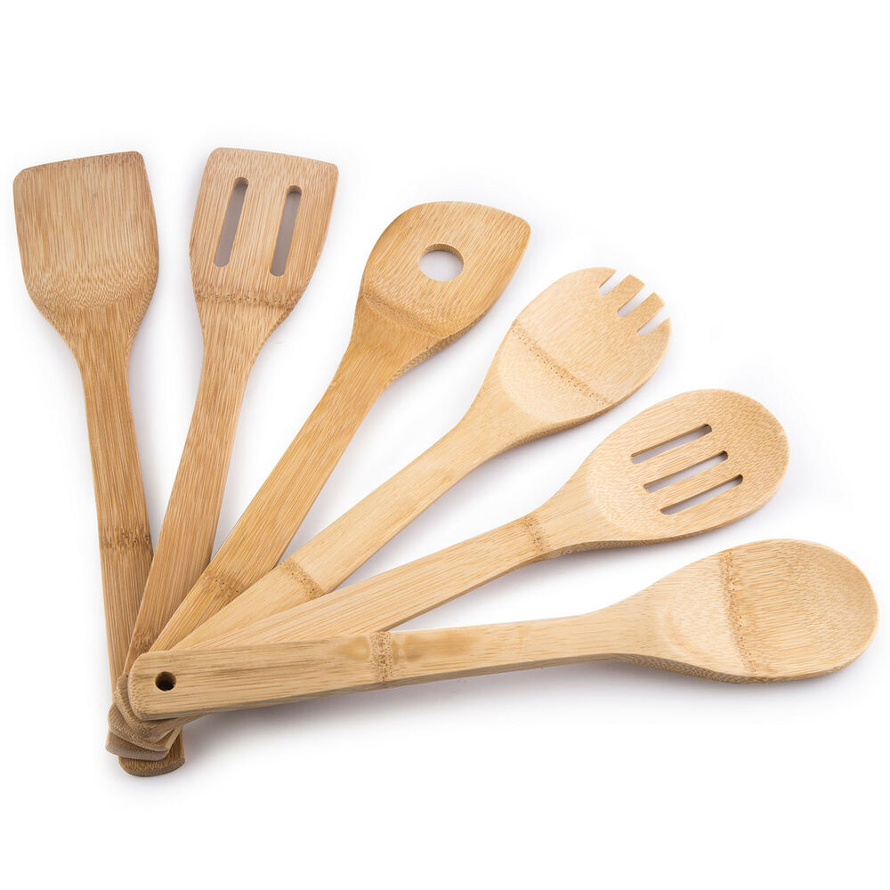 Wood Kitchen Utensil Set: MEGALOWMART 6 Piece Wooden Bamboo Kitchen Tools Home
