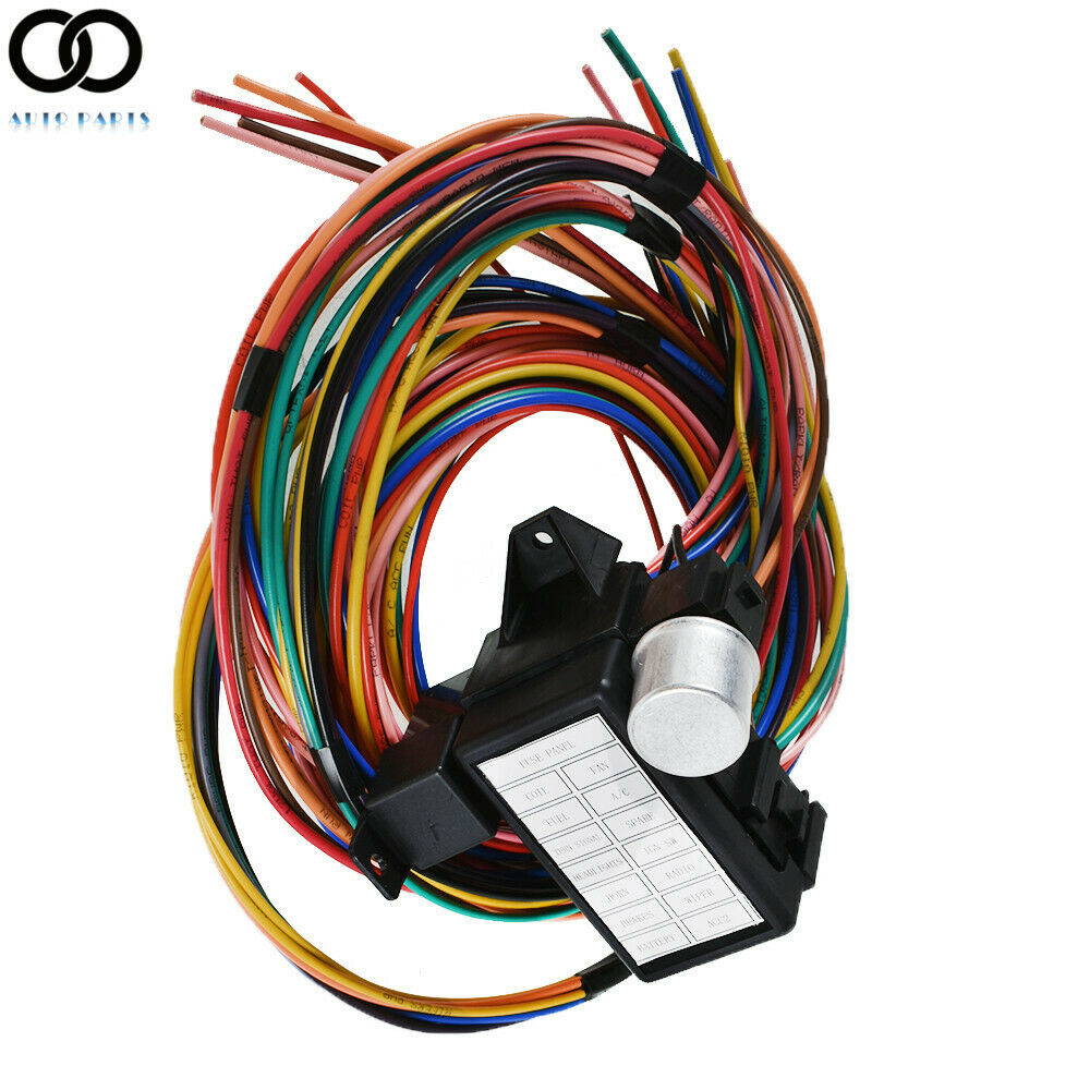 14 Circuit Universal Wire Harness Fuse 12v Street Hot Rat Muscle Wiring For Car Rod U Ebay