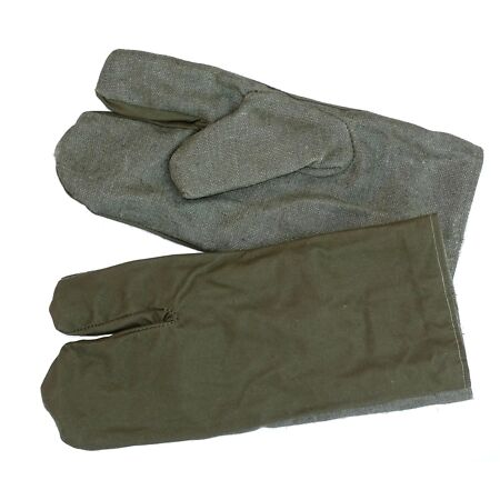 img-Ex-Army Work Gloves Linen & Cotton Trigger Finger Mittens Mitts Wool Lined Olive