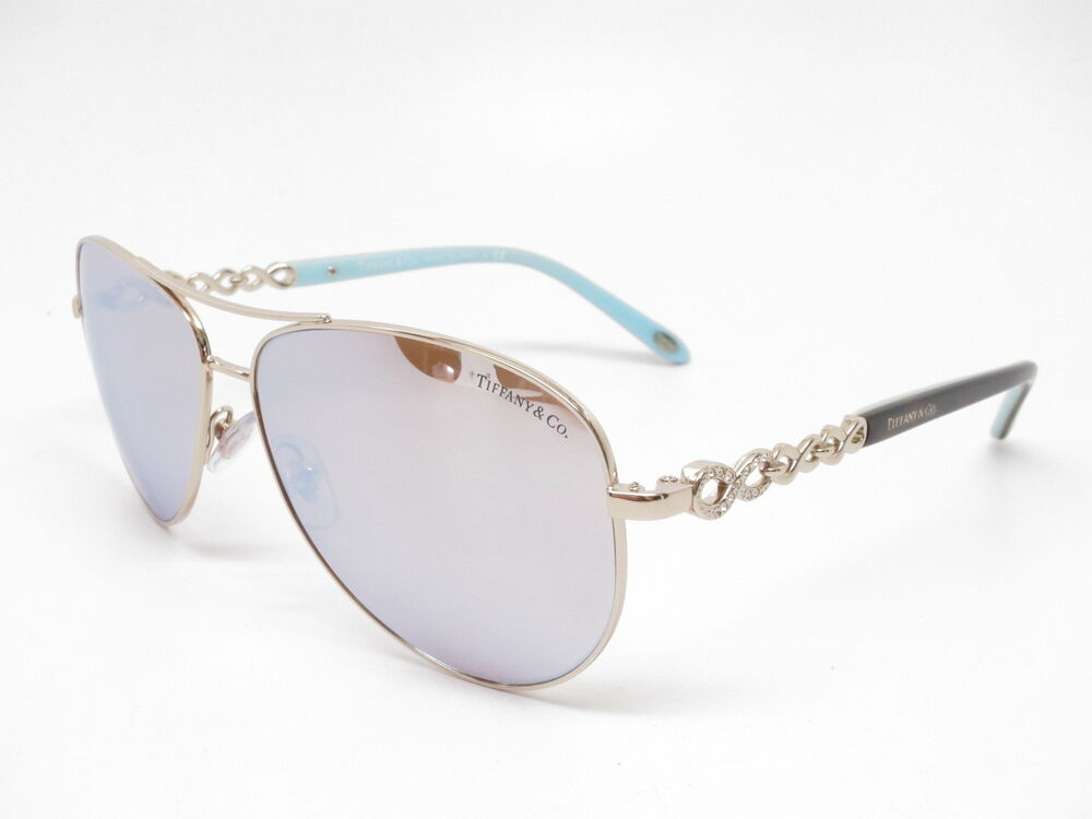 21d33b606570 Details about Tiffany   Co TF 3049-B 6091 64 Pale Gold w Dark Brown Mirror  White Sunglasses