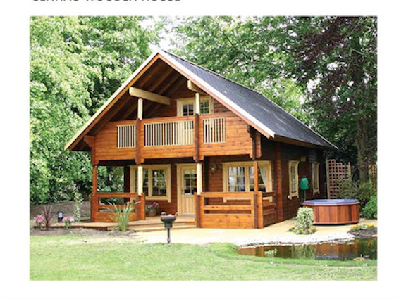 Cabin kit 1 442 ft 2 story 3 bed wooden guest house home for Cheapest 2 story house to build