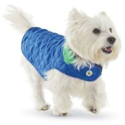 Clearance! Diamond Quilted Reversible Dog Coat Royal Blue and Kelly Green Size 8