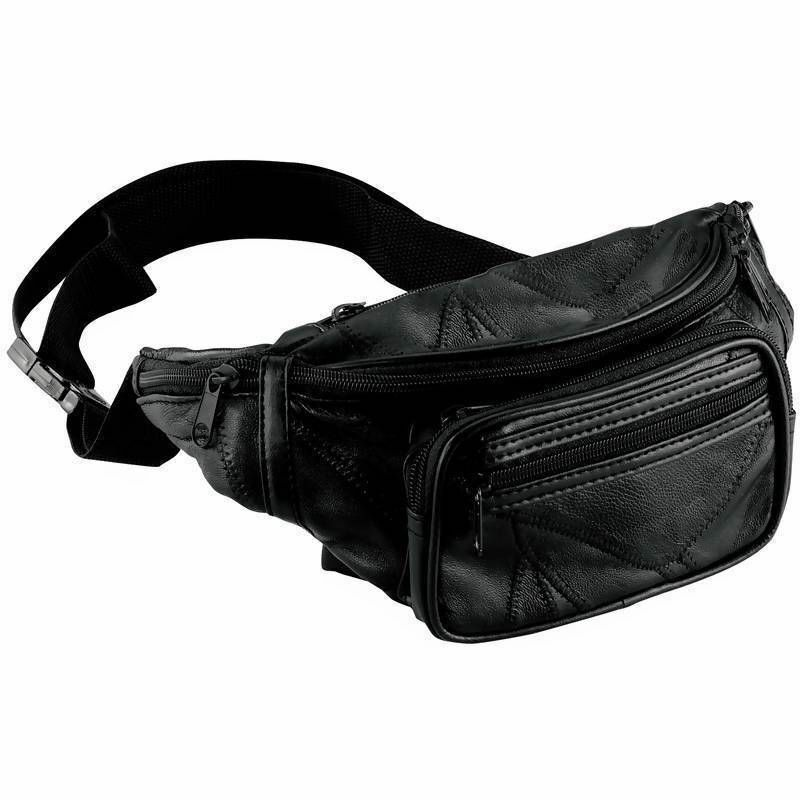 9fe328e0b837 Details about NEW Black Leather Fanny Pack- Mens Waist Belt Bag -Womens  Purse Hip Pouch Travel
