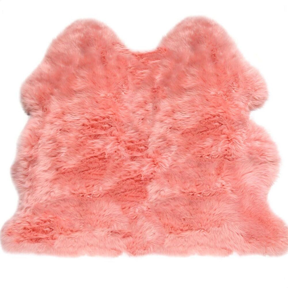 Lambland Hand Finished British Sheepskin Rug In Pale Pink