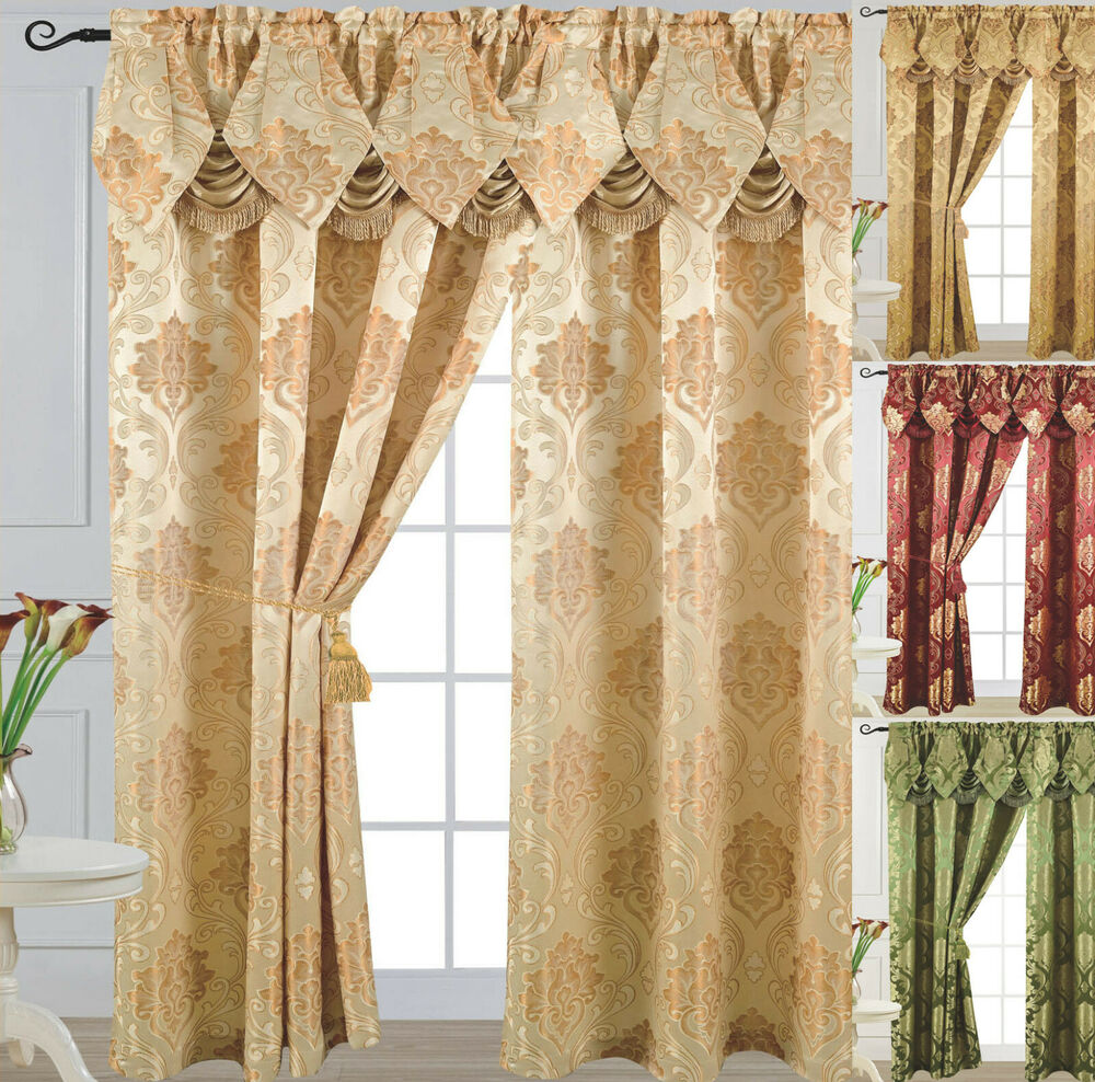 Luxury Jacquard Curtain Panel With Attached Waterfall