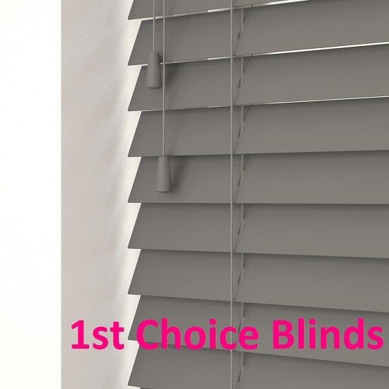 Details About New Made To Measure Faux Wood Orion Dark Grey Venetian Window Blind Slats
