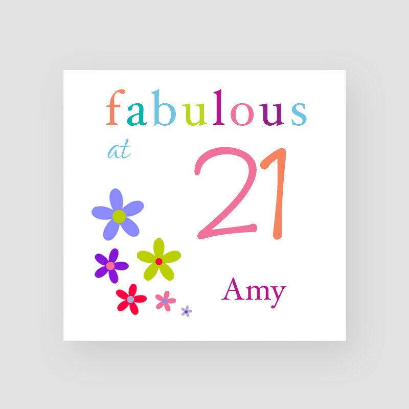 Details About Personalised Handmade Fabulous At 21 Birthday Card