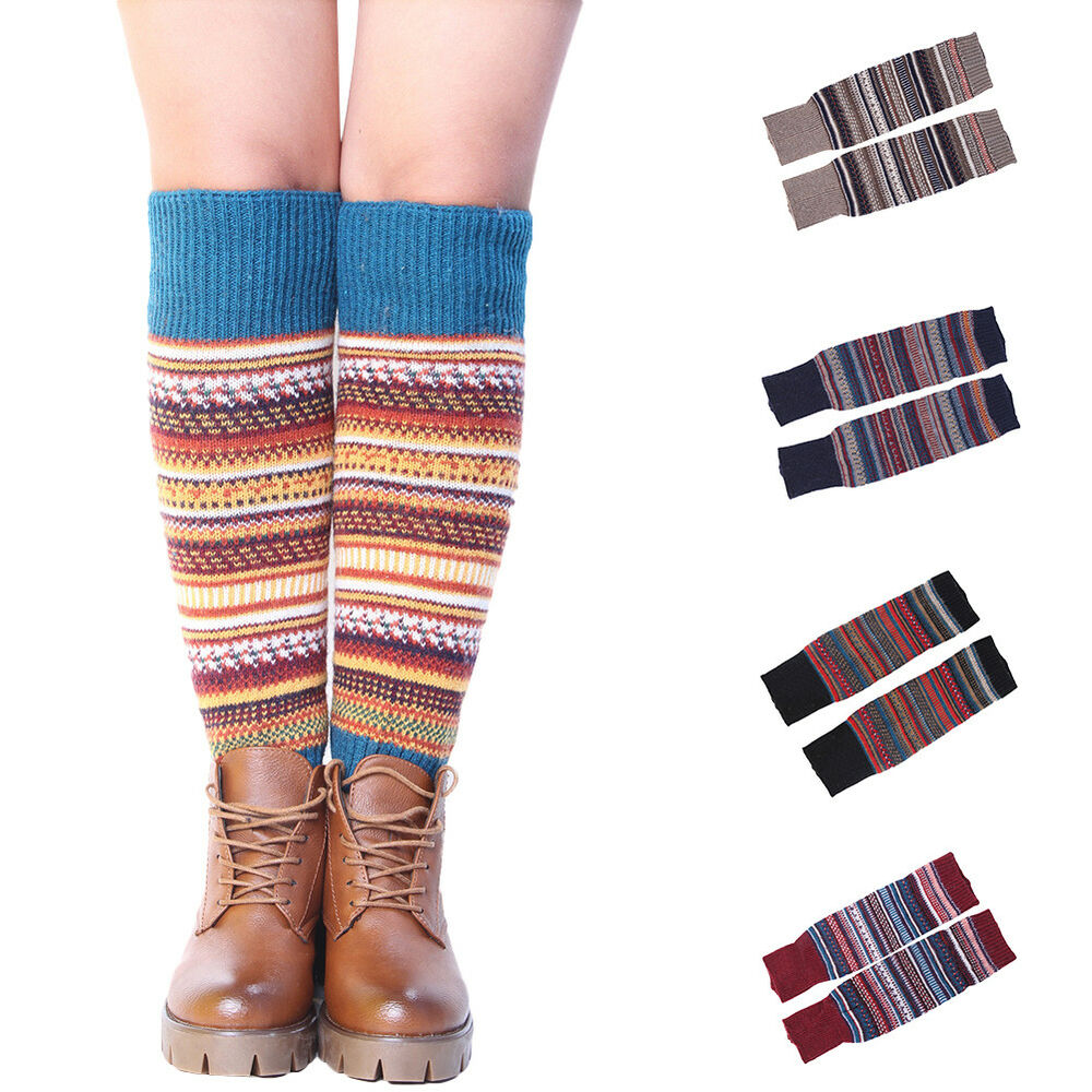 Eg Womens Knee High Socks Winter Boho Boot Cuffs Knit Crochet Leg