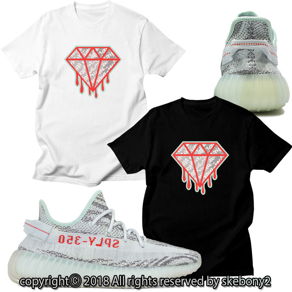 """5e403c0de4e3 Details about NEW CUSTOM T SHIRT MATCHING adidas YEEZY Boost 350 v2 """"Blue  Tint"""" AD-Y-1-11"""