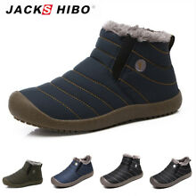 JACKSHIBO Mens Winter Snow Ankle Boots Slippers Casual Warm Outdoor Cozy Shoes